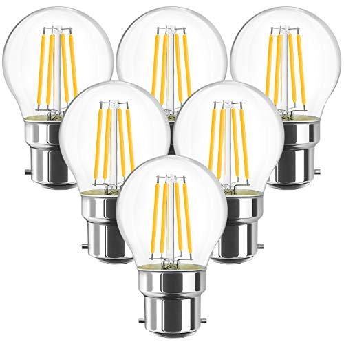ANWIO 4.5W Ampoule Filament LED Bayonnate B22 G45, 470 lumens Equivalente à Ampoule Halogène Vintage 40W, 2700K Blanc Chaud, Non réglable, Lot de 6