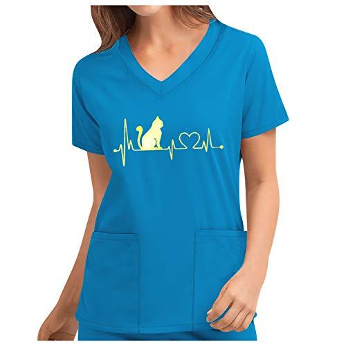 FOTBIMK Camiseta de trabajo para mujer con bolsillos, estampado lindo de manga corta con cuello en V, uniforme de trabajo de color sólido