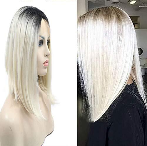 Perruque blonde platine avec racines marrons en balayage ombré - Coupe courte et cheveux lisses - 35,6 cm - Perruque à moitié nouée à la main avec des cheveux résistants à la chaleur - Pour femme