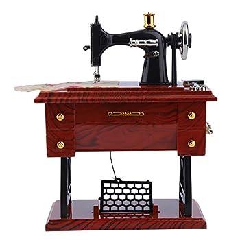 Elalma Vintage Music Box Mini Sewing Machine Music Box Antique Look Mechanical Music Box Best Birthday Valentine Gift Table Decor