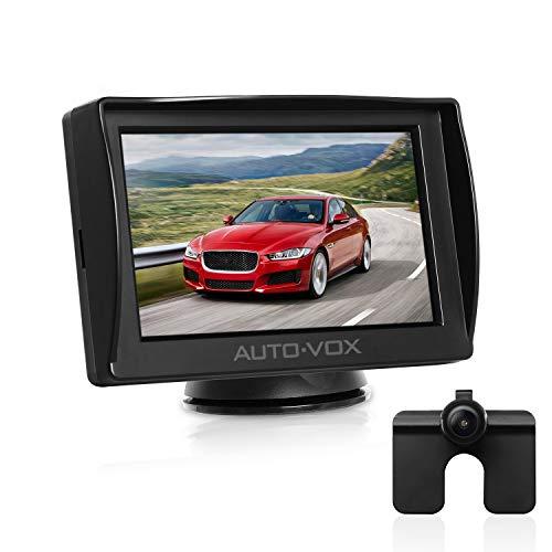 AUTO-VOX M1 cámara de marcha atrás con 4.3'' TFT LCD monitor, cámara del coche a prueba de agua IP68 para el asistente de aparcamiento marcha atrás con la ayuda de transmisión de señal estable