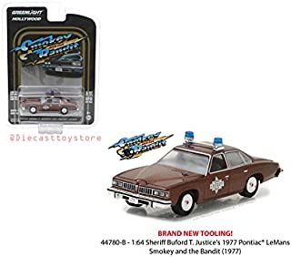 NEW DIECAST TOYS CAR GREENLIGHT 1:64 HOLLYWOOD SERIES 18 - SMOKEY AND THE BANDIT - SHERIFF BUFORD T JUSTICE'S 1977 PONTIAC LEMANS 44780-B