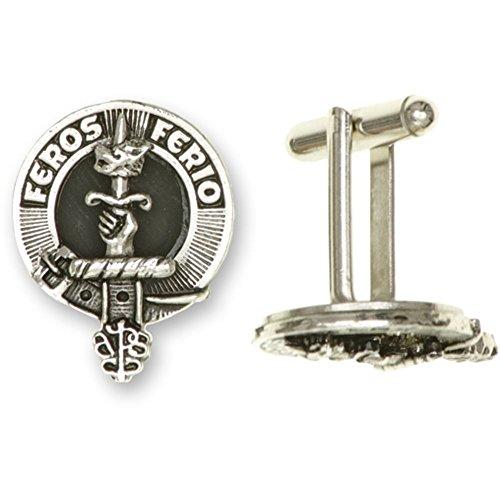Art Pewter Paire de boutons de manchette, avec National (Écosse et Irlande) Crest. Disponible en 7 Clans par bouton, Piper, Taille unique