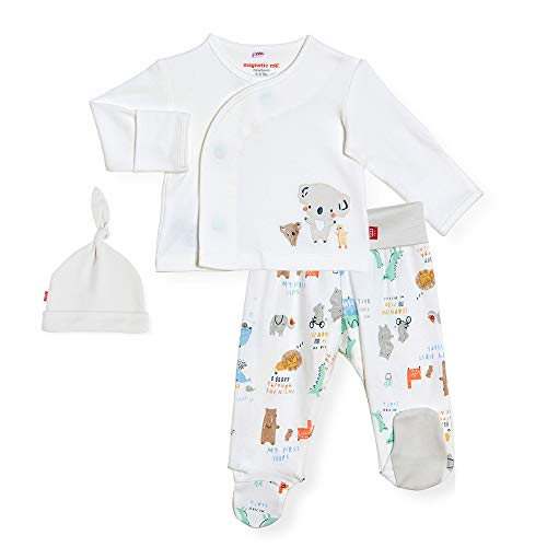 Magnetic Me 100% Organic Cotton Magnetic Kimono Baby Clothing Outfit 3-Piece Set Shirt, Footed Pants, Hat My Year of First 0-3 Months