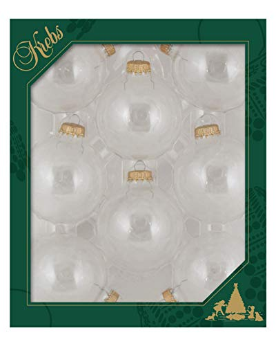 Christmas By Krebs Made in The USA Designer Seamless Glass Christmas Ball Craft Ornaments, 2 5/8' (67mm), Clear, 8 Pieces