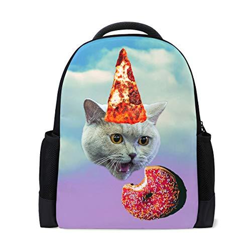 Cute Cat Kitty Travel Laptop Rucksack Schule Buch Tasche Kätzchen Tier Donuts Causal Daypack Outdoor Business Wanderrucksäcke Camping Schultertaschen für Studenten Frauen Herren