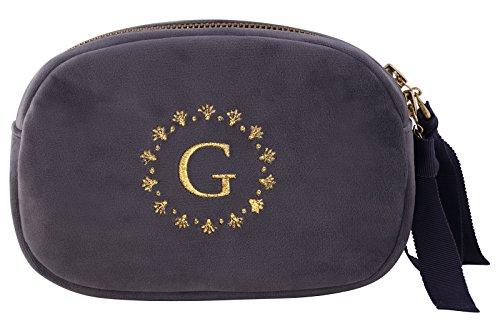 Greengate VELCOSW8502 Kosmetiktasche Samt grau 17,5 cm