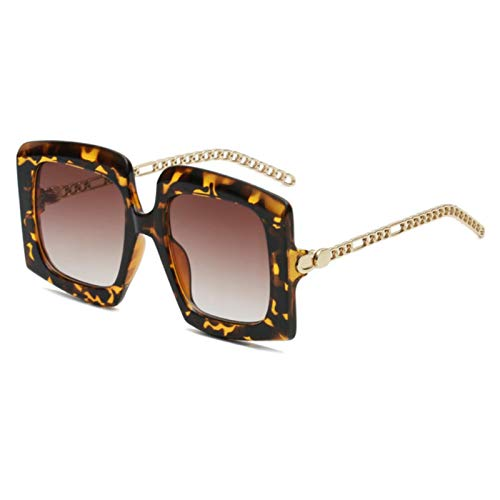 UKKD Fashion Shield Gafas De Sol Mujeres Hombres Trend Square Black Leopard Metal Alloy Frame Gafas De Sol