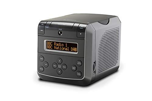 Roberts Sound48 DAB+ Radiowecker (DAB, UKW, Uhrenradio, Wecker mit Zwei einstellbaren Weckzeiten, CD-Player, Bluetooth, Snooze-Funktion, Sleeptimer, dimmbares Display, Kopfhöreranschluss) schwarz