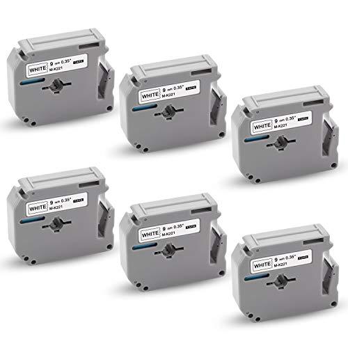 Xemax kompatibel Schriftbänder Ersatz für Brother MK-221 M-K221 MK221 Kassette Bänder für PT-60 PT-90 PT-55 PT-65 PT-85 PT-100 PT-110 PT-70BM PT-BB4, Schwarz auf weiß, 9mm x 8m, 6er-Pack