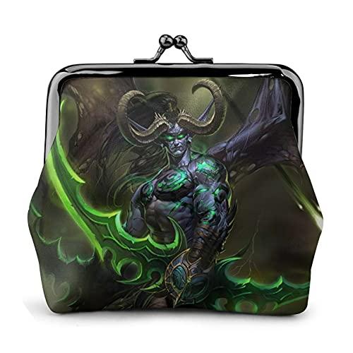 World Warcraft - Monedero de cuero con cierre de beso para mujer y mujer, color negro