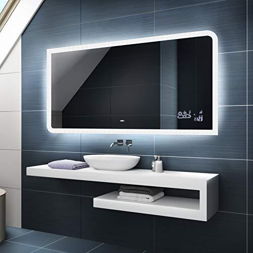 Badspiegel 120x80cm mit LED Beleuchtung - Wählen Sie Zubehör - Individuell Nach Maß - Beleuchtet Wandspiegel Lichtspiegel Badezimmerspiegel - LED Farbe zu Wählen Kaltweiß/Warmweiß L80