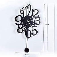 壁掛け時計、スイング壁掛け時計家庭用品振り子壁掛け時計、壁掛けスイング時計クォーツミュートノンティックサイレント、ブラックウォールクロック