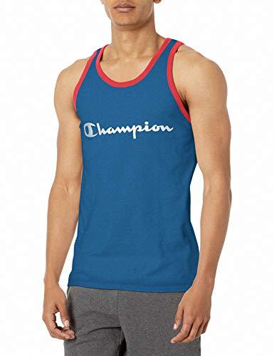 Champion Classic Jersey Graphic Tank Camiseta, Escudo Azul/Rojo Persuasión, L para Hombre