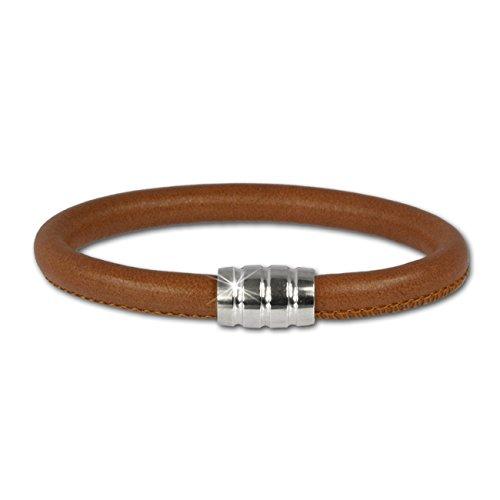 SilberDream Bracelet de cuir nappa - Couleur cognac nappa 6mm - Taille 21cm - Fermeture aimant argent 925/1000 - LS0642