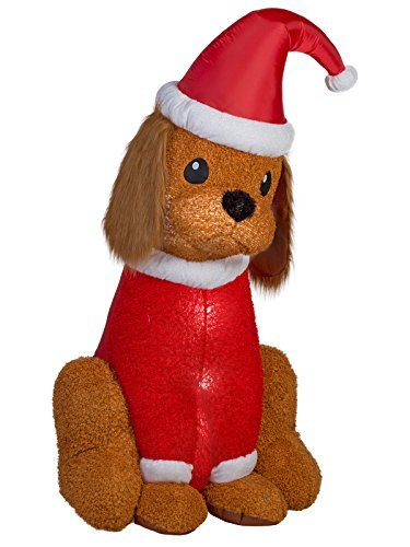 Gemmy Industries Hk Home Accents Holiday Inflatable Cocker Spaniel with Santa Hat, 6-Feet Height, Lighted Blow Up Christmas Yard Decoration
