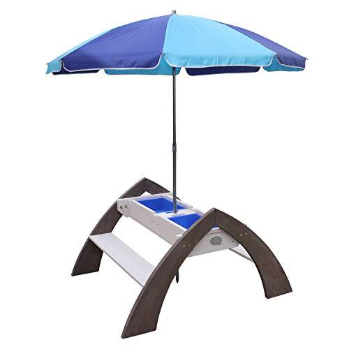 AXI Delta Kinder Sand & Wasser Picknicktisch aus Holz | Wasserspieltisch & Sandtisch mit Deckel und Behältern | Kindertisch / Matschtisch mit Sonnenschirm für den Garten