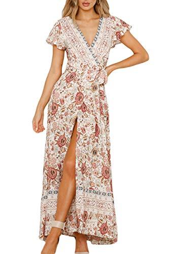 Zilcremo Damen Boho Kleider Sommerkleider Lang Blumenkleid Maxikleid Kurzarm V-Ausschnitt Strandkleid Böhmisch Kleid mit Schlitz 2 S