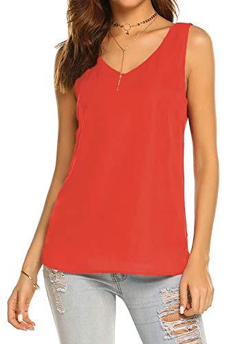 Bluetime Women Summer Casual Sleeveless Tops V-Neck Chiffon Blouses Side Split Cami Tank Tops (S, Orange)