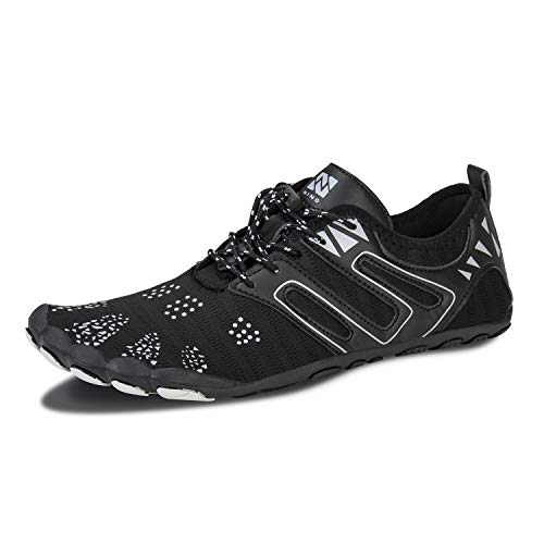 IceUnicorn Barfußschuhe Herren Damen Zehenschuhe Aquaschuhe Fitness Schuhe Strandschuhe Straßenlaufschuhe Wasserschuhe(ZB Schwarz, 39EU)