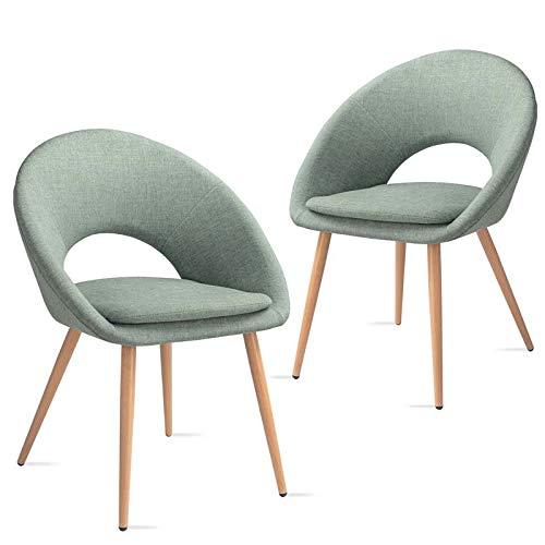 Mc Haus LAGUNA - Lot de 2 chaises salle à manger siège rembourré en tissu couleur vert pistache fauteuil salon style nordique et pieds en métal à effet bois 46x43x82cm