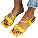 Xudanell Womens Sandals Square Toe Slingback Leather Ankle Strap Block Chunky Heels Flip Flops Thong Sandals for Women Yellow