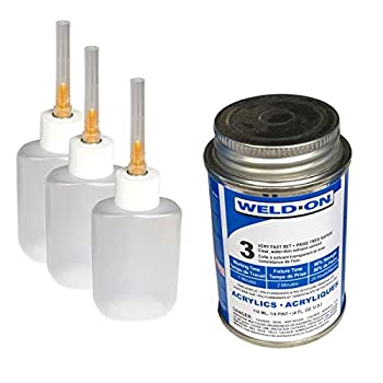 Weld-On 3 Acrylic Adhesive - 4 Oz and 3 Pack of Weld-On Applicator Bottle with Needle