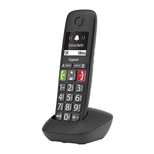 Gigaset E290HX - Schnurloses DECT-Telefon für Senioren zum Anschluss an DECT Basis - große Tasten, großes Display, Zielwahltasten für wichtige Nummern, Verstärker-Funktion für lautes Hören, schwarz