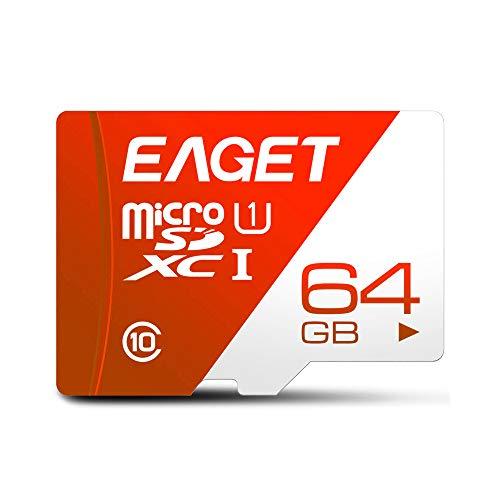 Andoer Cartão EAGET T1 TF Cartão de memória 64GB TF U1 C10 Cartão de memória de alta velocidade e grande capacidade para dispositivos de monitoramento de gravador de condução