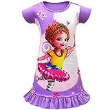 AUTOUS90 Toddler Girls' Baby PJS Princess Costume Cartoon Pajama Set Print Dress (Purple,110/3-4Y)