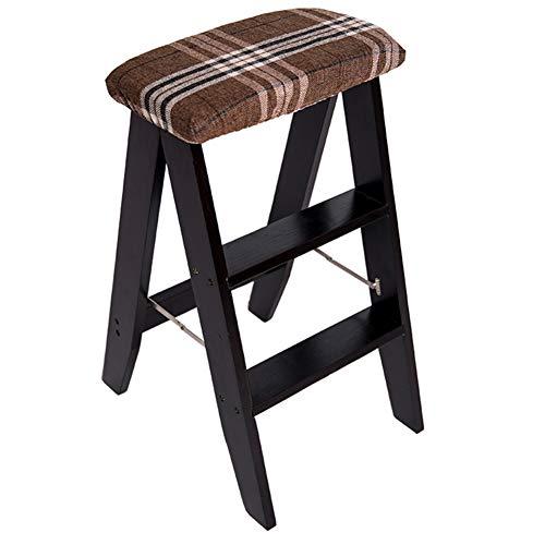 HAIPENG Tabouret D'échelle en Bois Escabeau Haute Chaise Pliable Double Usage, Plusieurs Couleurs, 34x44x61cm (Couleur : Black Leg Stool-1#)