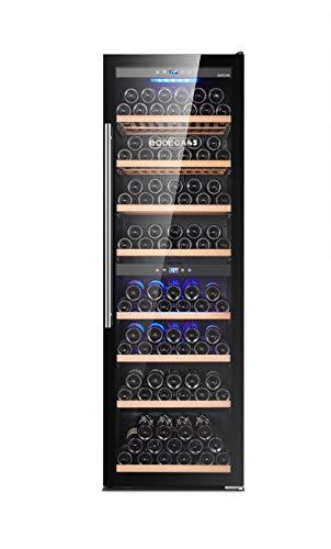 BODEGA43-180 Vinoteca independiente Grande - Armario de climatización de vino con 2 zonas, 5-20 ºC, 480 litros, 180 botellas, 8 estantes, puerta de cristal de diseño, bajo ruido (42 dB) y vibración