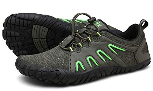 Voovix Herren Trekkingschuhe Damen Wanderschuhe Barfußschuhe Laufschuhe Traillaufschuhe Knit Sneaker Fitnessschuhe im Sommer Grün45