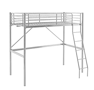 MUEBLIX   Literas Juveniles 90x190   Cama Alta Individual   Estructura de Metal   Literas Juveniles Baratas con Escalera   Ideal para Loft para Escritorio Debajo   Modelo Pedro