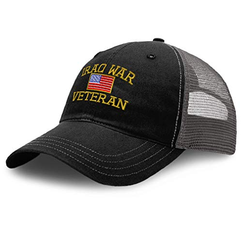 Speedy Pros Richardson Trucker Mesh Hat American Veteran Iraq War A Embroidery Cotton Dad Hats for Men & Women Snapback Black Charcoal