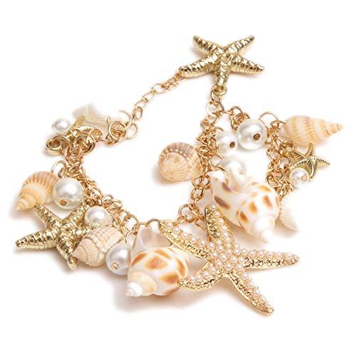 QFJCNZ Armband Ocean Style Multi Sea Star Muschelschale Seestern Simulierte Perlenkette Neuheit Strand Armband Armreif