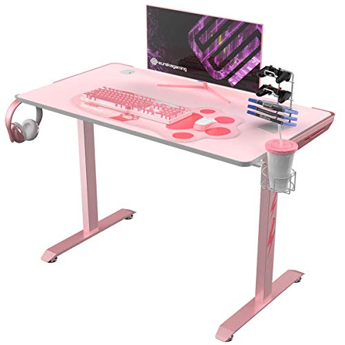 "EUREKA ERGONOMIC I1-S Pink Gaming Desk, 43.3"" Small Home Office PC Gaming Computer Desk with Neko Paw Mousepad, T-Shaped Writing Study Tables Popular Gift for Girlfriend Female E-Sports Lover"