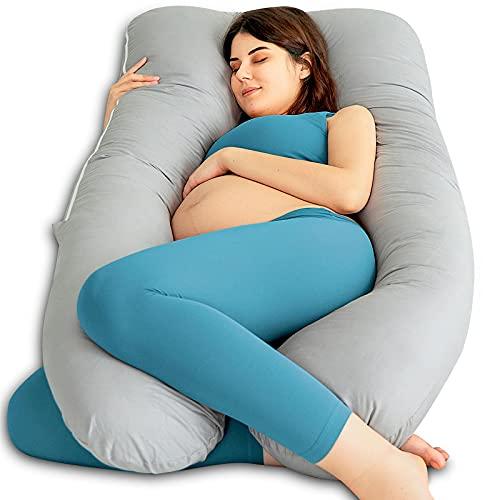 QUEEN ROSE Cuscino da Gravidanza, Fodera per Cuscino in Cotone, Cuscino per Allattamento a Forma di U per Donne in Gravidanza, Cuscini per il corpo e Maternità (150 x 80 cm, Grigio)