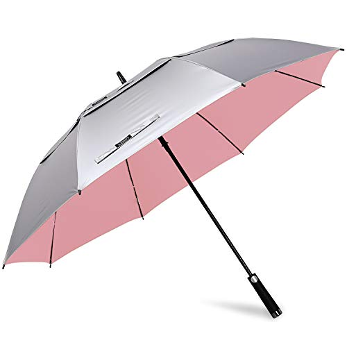 G4Free 68 Inch UV Protection Golf Umbrella Auto Open Extra Large Windproof Sun and Rain Umbrellas Double Canopy (Silver/Pink)