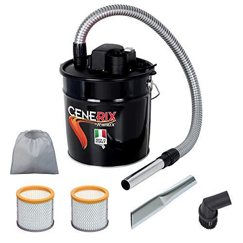 Aspirador para cenizas eléctrico Cenerix 1200W–18L con doble filtro, lanza plana y cepillo con cerdas