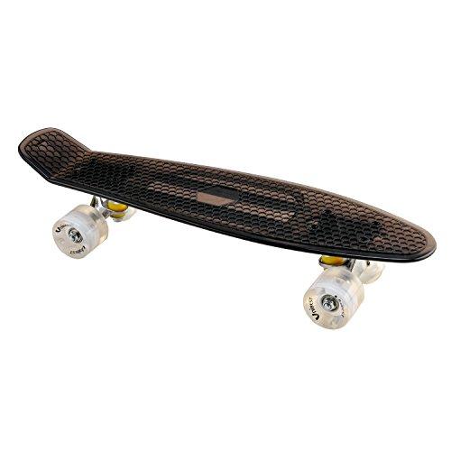 Unibest Skateboard Mini Cruiser Rollbrett Retro-Board transparent 57x15cm mit LED Leuchtrollen - schwarz
