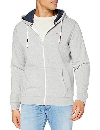 Tommy Jeans Herren Original Zipthru Lang - Regulär Regular Fit Kapuzenpullover Grau (LT GREY HTR 038) XL