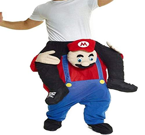Mario Carry Mascot Costume Ride On Me Halloween Christmas Party Fancy Dress (One Size