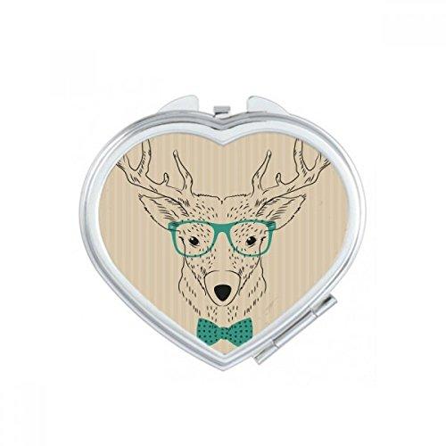DIYthinker Cartoon Cerf Coeur d'animal Maquillage Compact Miroir de Poche Portable Mignon Petit Cadeau Miroirs Main Multicolor