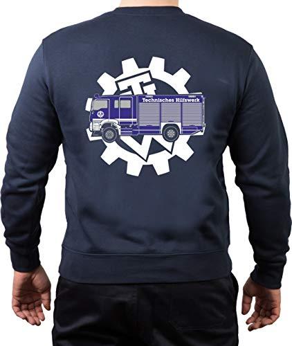 FEUER1 Sweatshirt Navy THW - GKW mit THW-Zahnrad XXL