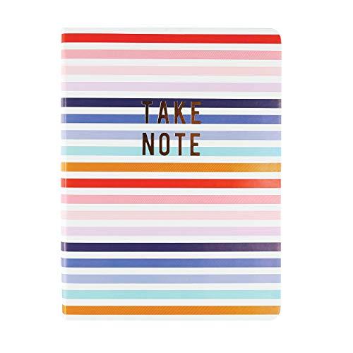 """Graphique Diário de couro vegano médio, listras – 15,24 cm x 20,32 cm, 192 páginas pautadas, a citação""""Take Note"""" enfeitada em folha dourada na capa – perfeita para tomar notas, listas e mais"""