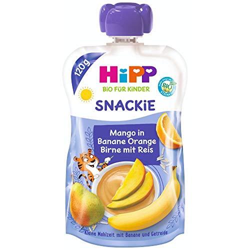 HiPP Sportsfreund Quetschbeutel (Mango in Banane-Orange-Birne mit Reis, 100% Bio-Früchte ohne Zuckerzusatz) 6 x 120 g Beutel