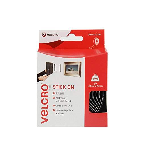 VELCRO Brand Cinta adhesiva 20mm x 2.5m Negro