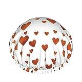 Corazones en naranja impermeable doble capas tapas de ducha gorras de pelo grandes mujeres bañeras para todo el cabello