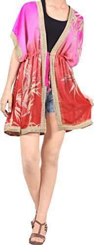 LA LEELA Chaqueta de Punto para Mujer Kimono del Traje Cubierta Suelta hasta la Parte Superior de la Blusa Rojo_AA9 XL-XXL